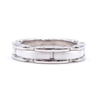 White Gold 18k 750 Ceramic Size 46 3.75 Ring
